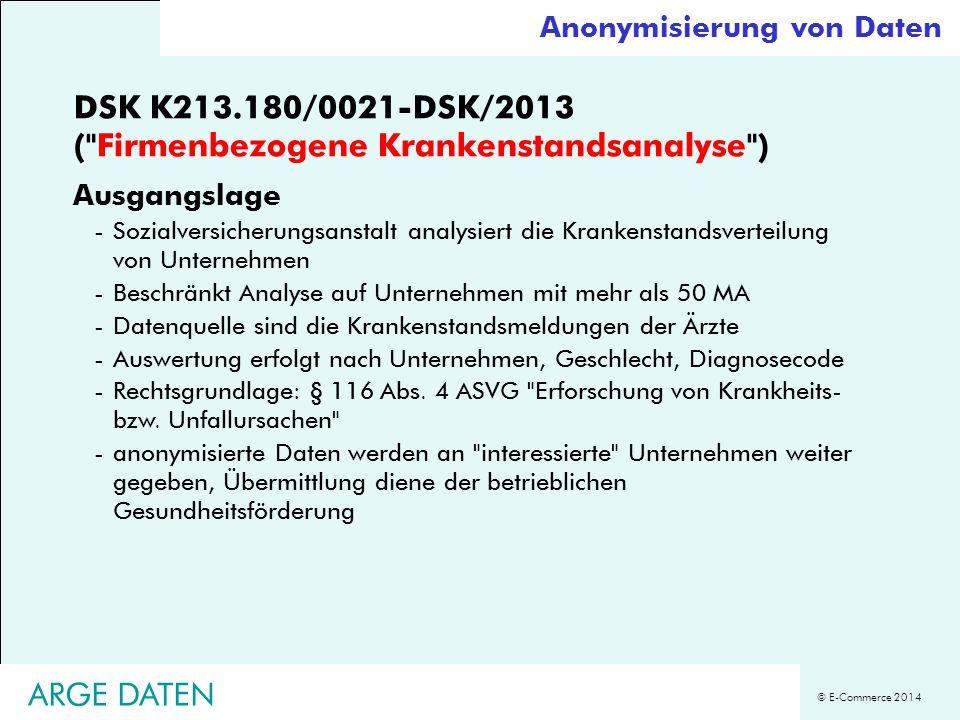 DSK K213.180/0021-DSK/2013 ( Firmenbezogene Krankenstandsanalyse )