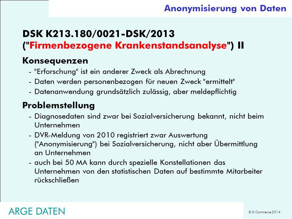 DSK K213.180/0021-DSK/2013 ( Firmenbezogene Krankenstandsanalyse ) II