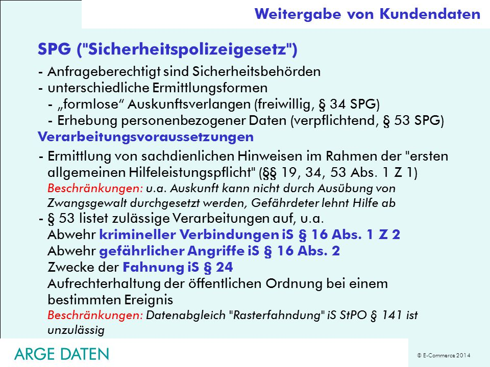 SPG ( Sicherheitspolizeigesetz )