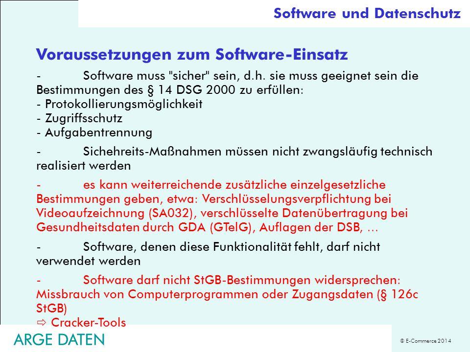 Voraussetzungen zum Software-Einsatz