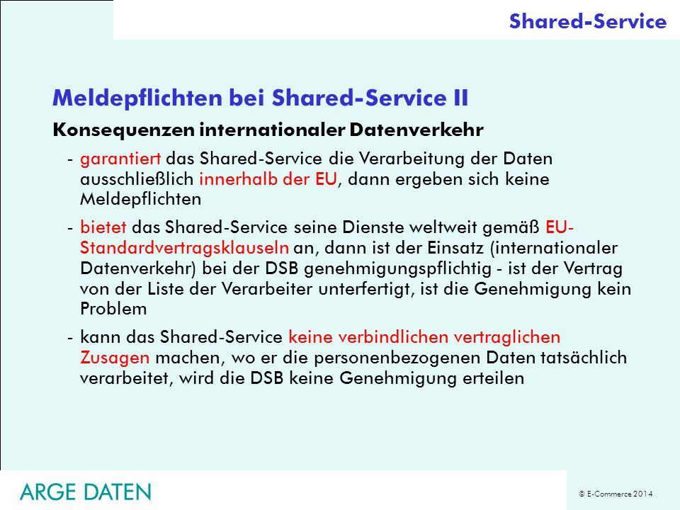Meldepflichten bei Shared-Service II
