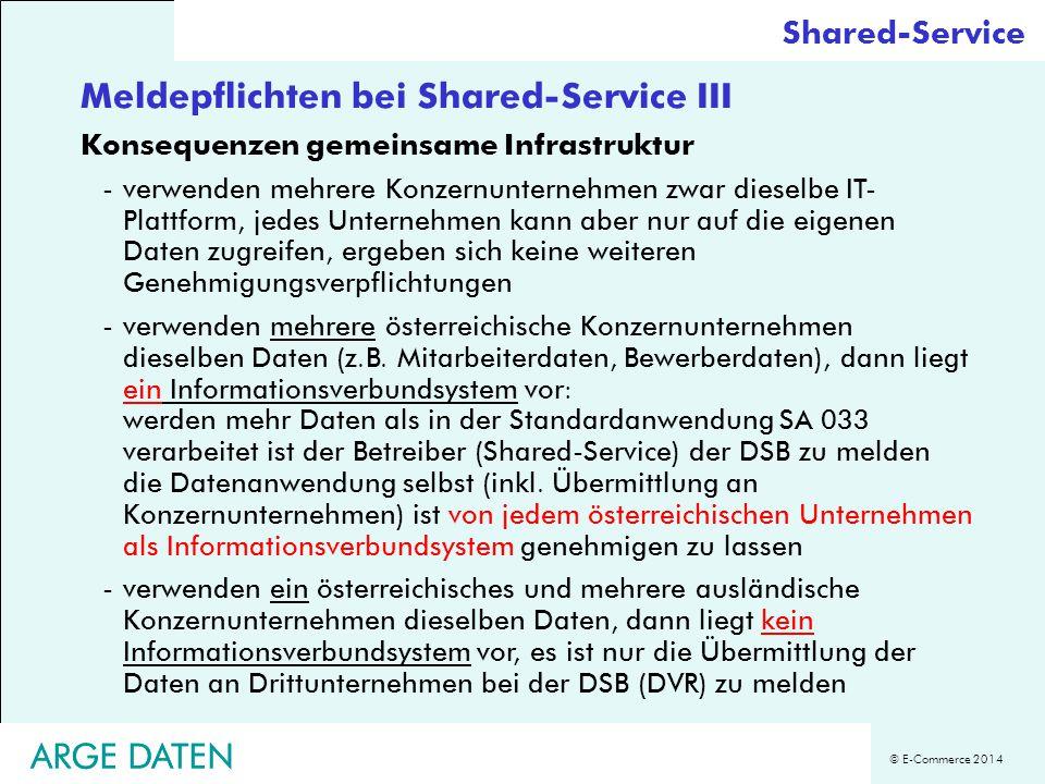 Meldepflichten bei Shared-Service III