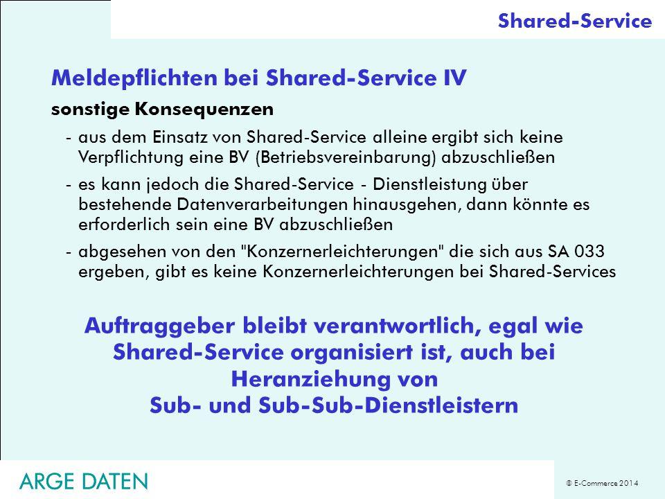 Meldepflichten bei Shared-Service IV