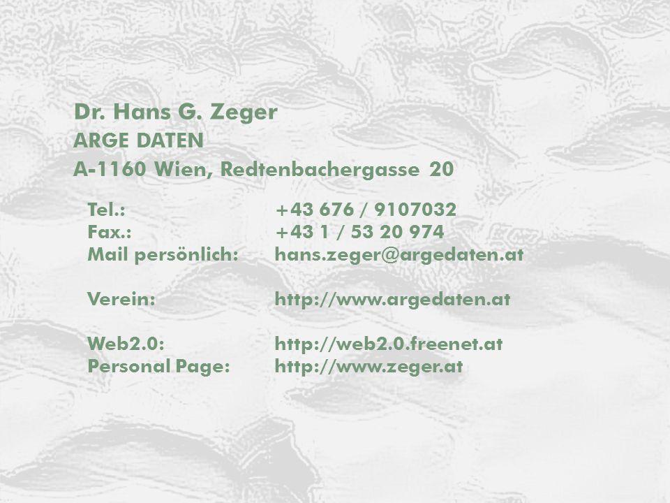 Dr. Hans G. Zeger ARGE DATEN Kontakt ARGE DATEN