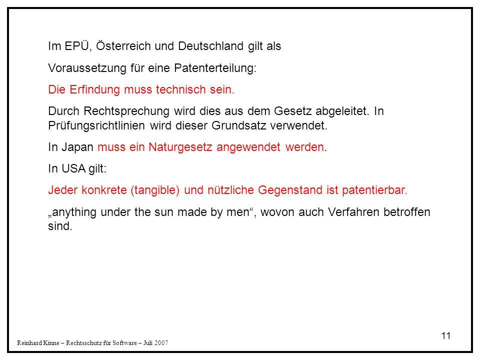 Im EPÜ, Österreich und Deutschland gilt als