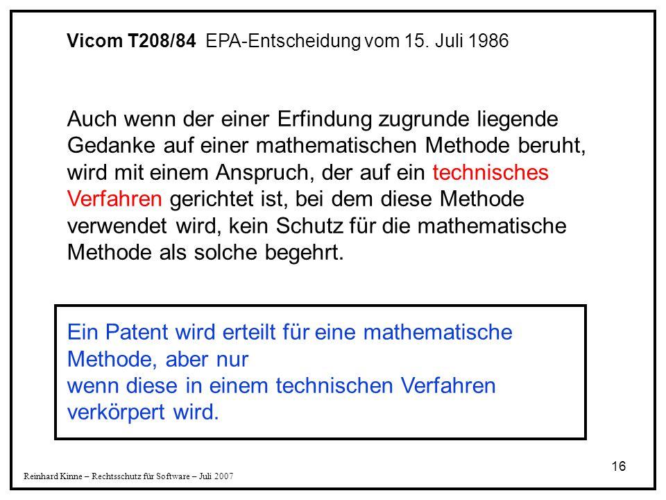 Ein Patent wird erteilt für eine mathematische Methode, aber nur