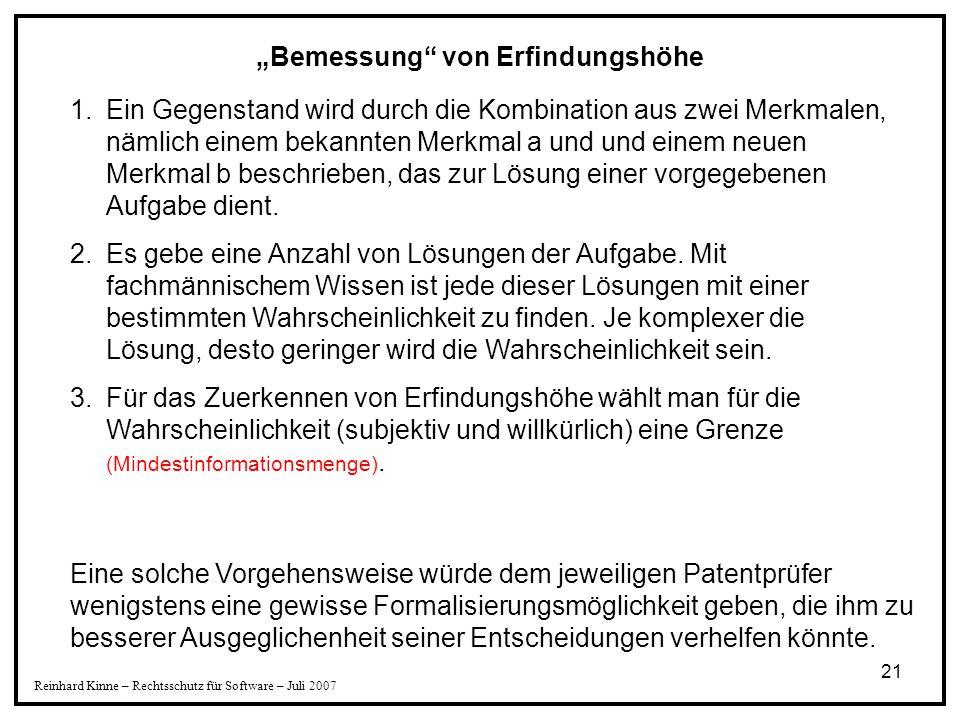 """""""Bemessung von Erfindungshöhe"""