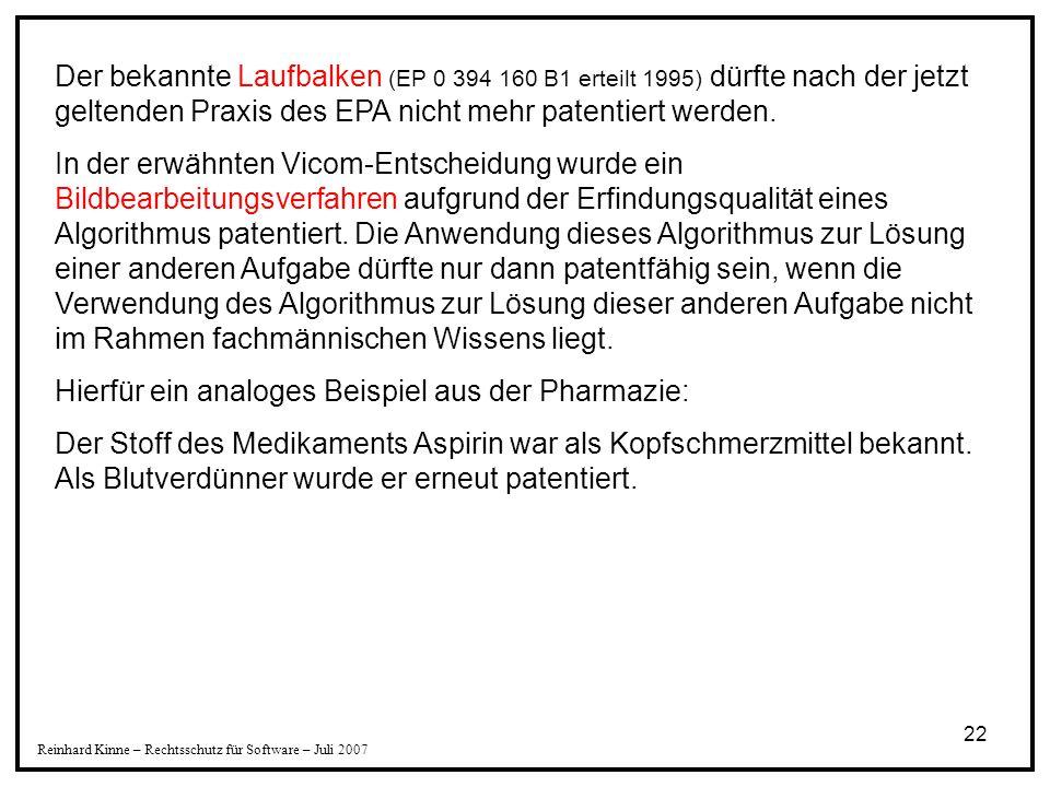 Hierfür ein analoges Beispiel aus der Pharmazie: