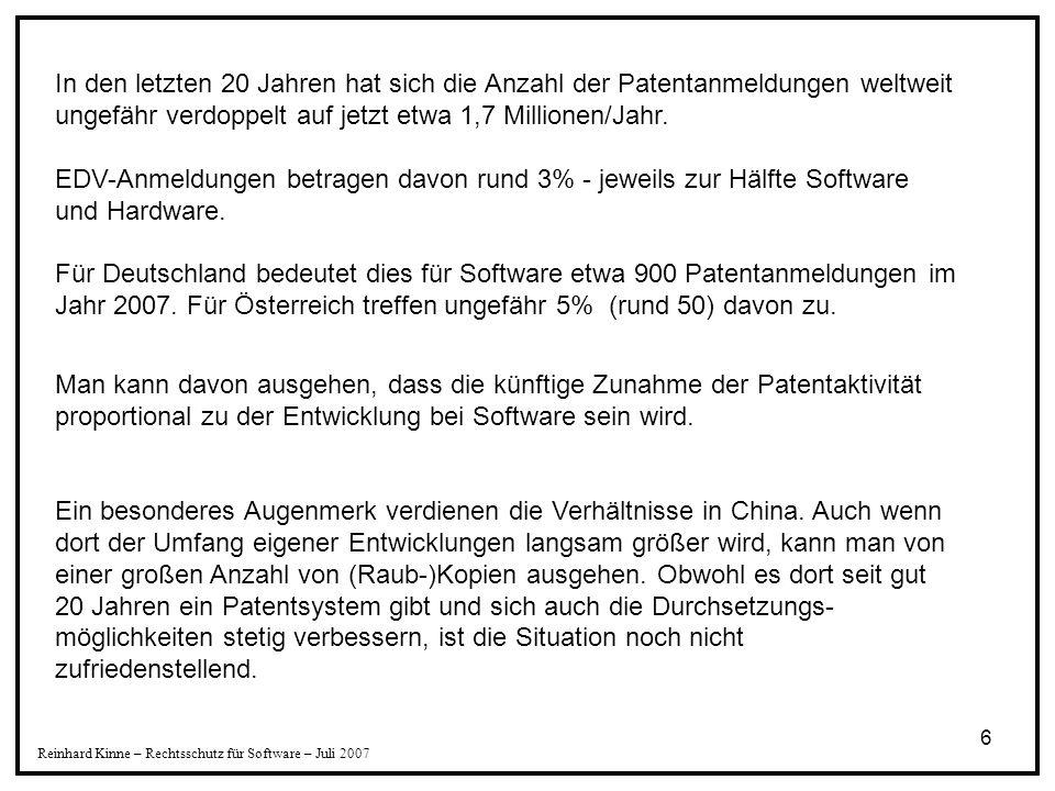 In den letzten 20 Jahren hat sich die Anzahl der Patentanmeldungen weltweit ungefähr verdoppelt auf jetzt etwa 1,7 Millionen/Jahr. EDV-Anmeldungen betragen davon rund 3% - jeweils zur Hälfte Software und Hardware. Für Deutschland bedeutet dies für Software etwa 900 Patentanmeldungen im Jahr 2007. Für Österreich treffen ungefähr 5% (rund 50) davon zu.