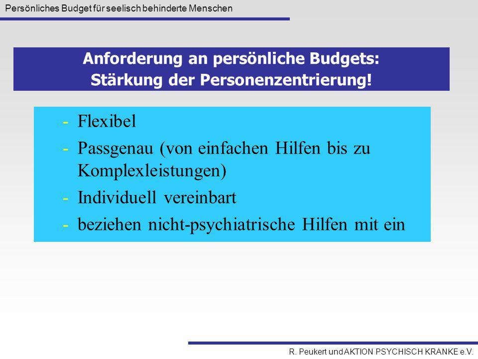 Anforderung an persönliche Budgets: Stärkung der Personenzentrierung!