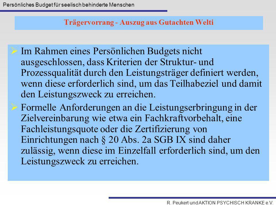 Trägervorrang - Auszug aus Gutachten Welti