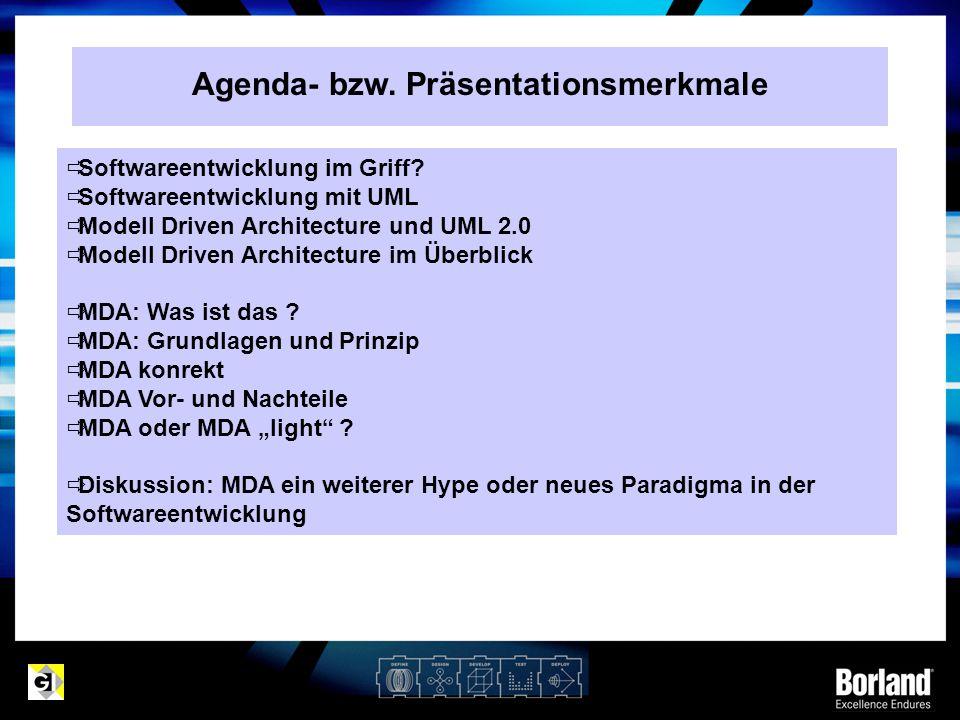 Agenda- bzw. Präsentationsmerkmale