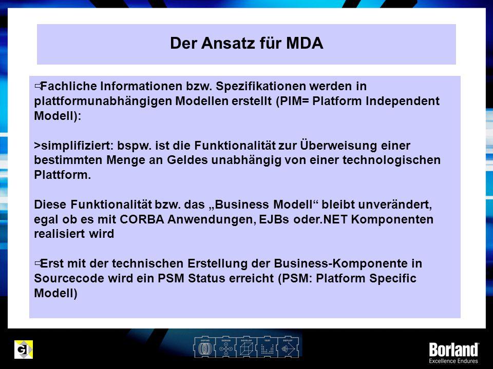 Der Ansatz für MDA Fachliche Informationen bzw. Spezifikationen werden in plattformunabhängigen Modellen erstellt (PIM= Platform Independent Modell):