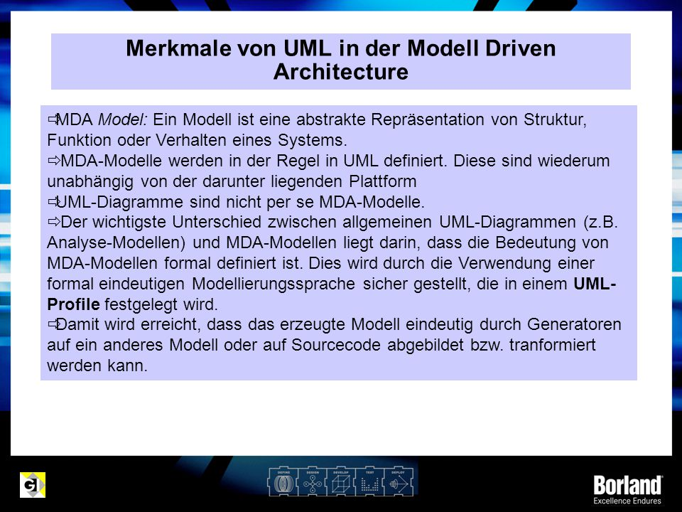 Merkmale von UML in der Modell Driven Architecture