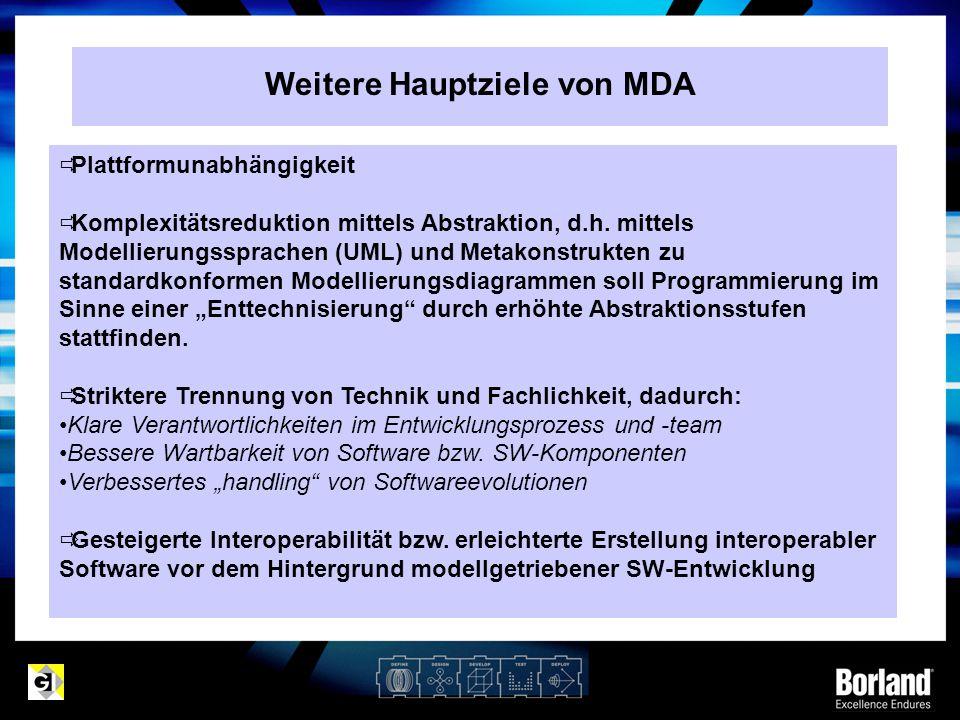 Weitere Hauptziele von MDA