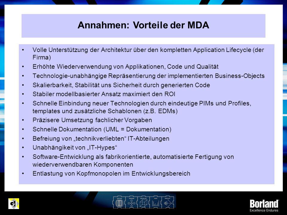 Annahmen: Vorteile der MDA