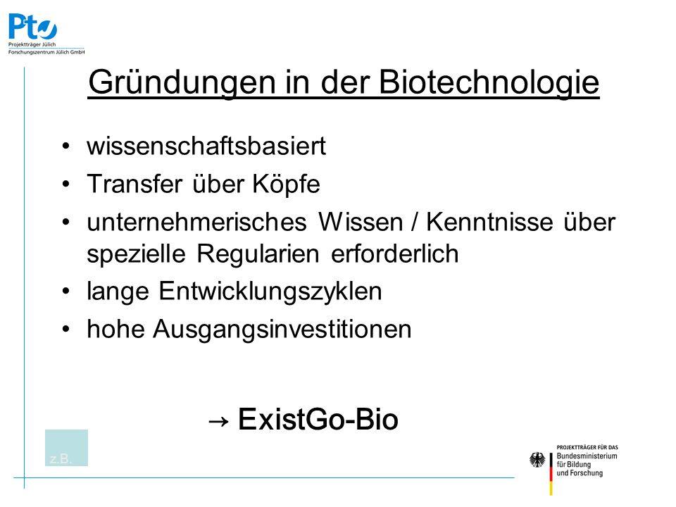 Gründungen in der Biotechnologie