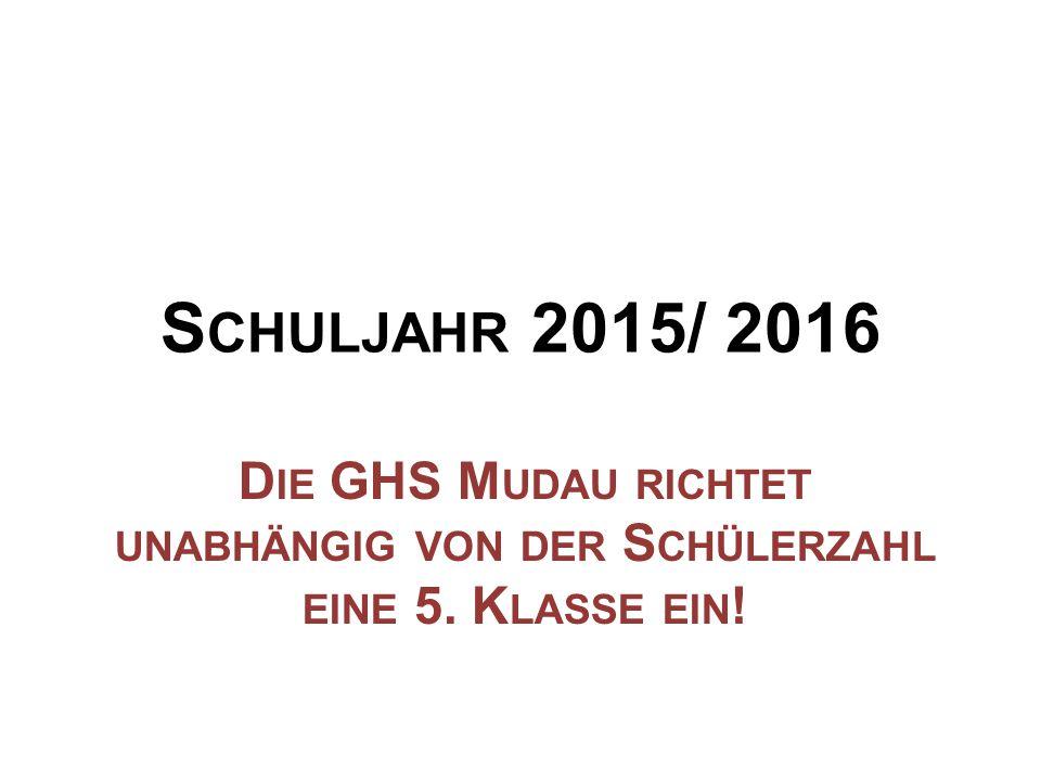 Schuljahr 2015/ 2016 Die GHS Mudau richtet unabhängig von der Schülerzahl eine 5. Klasse ein!