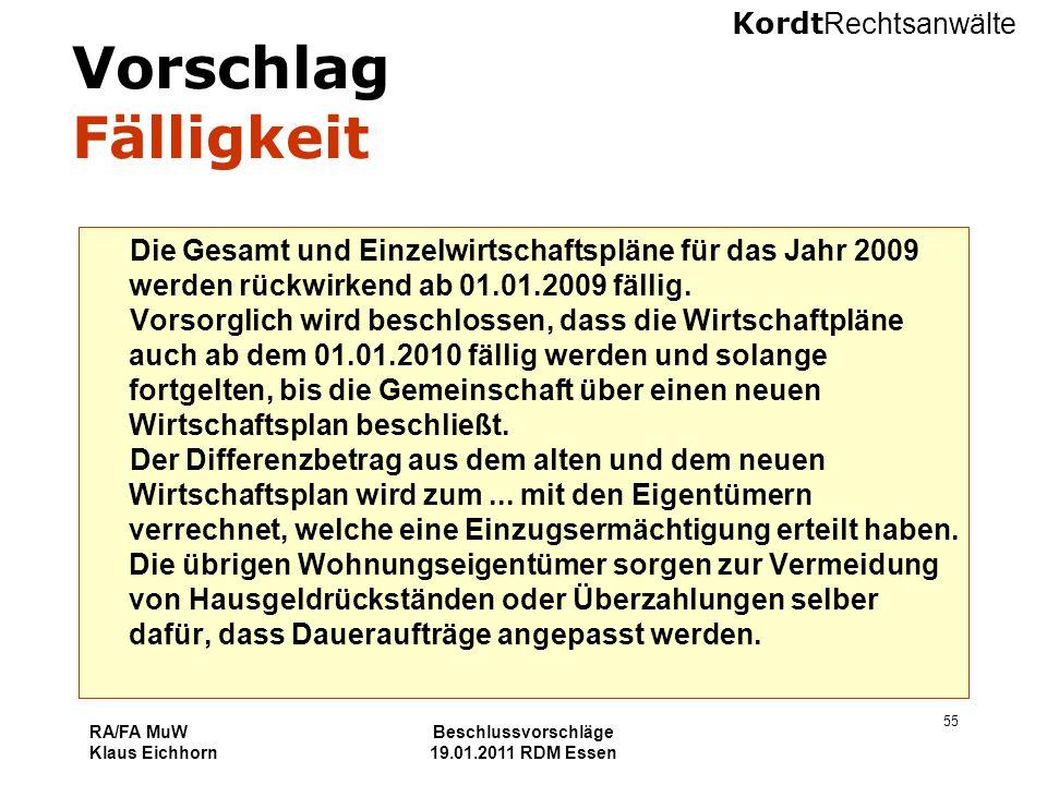 Vorschlag Fälligkeit Die Gesamt und Einzelwirtschaftspläne für das Jahr 2009 werden rückwirkend ab 01.01.2009 fällig.