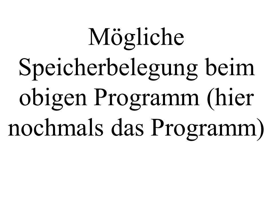 Mögliche Speicherbelegung beim obigen Programm (hier nochmals das Programm)
