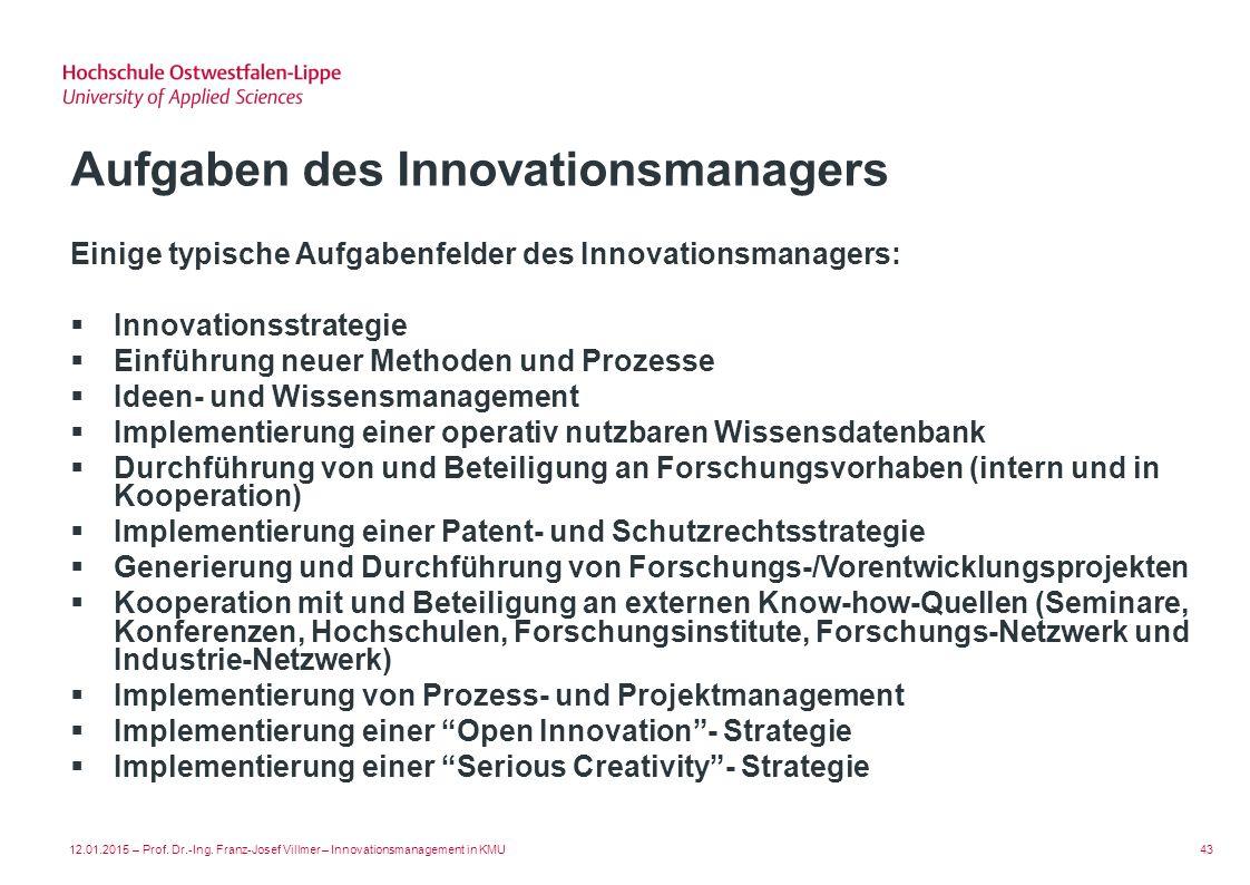 Aufgaben des Innovationsmanagers