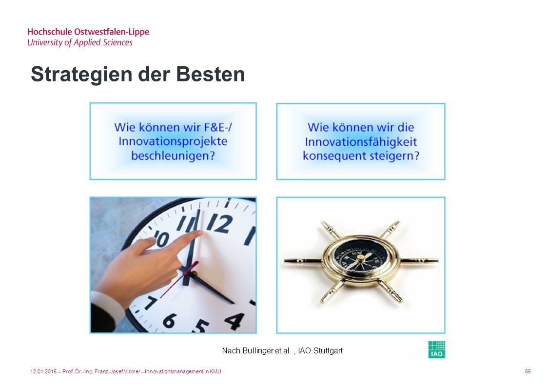Strategien der Besten Nach Bullinger et al. , IAO Stuttgart