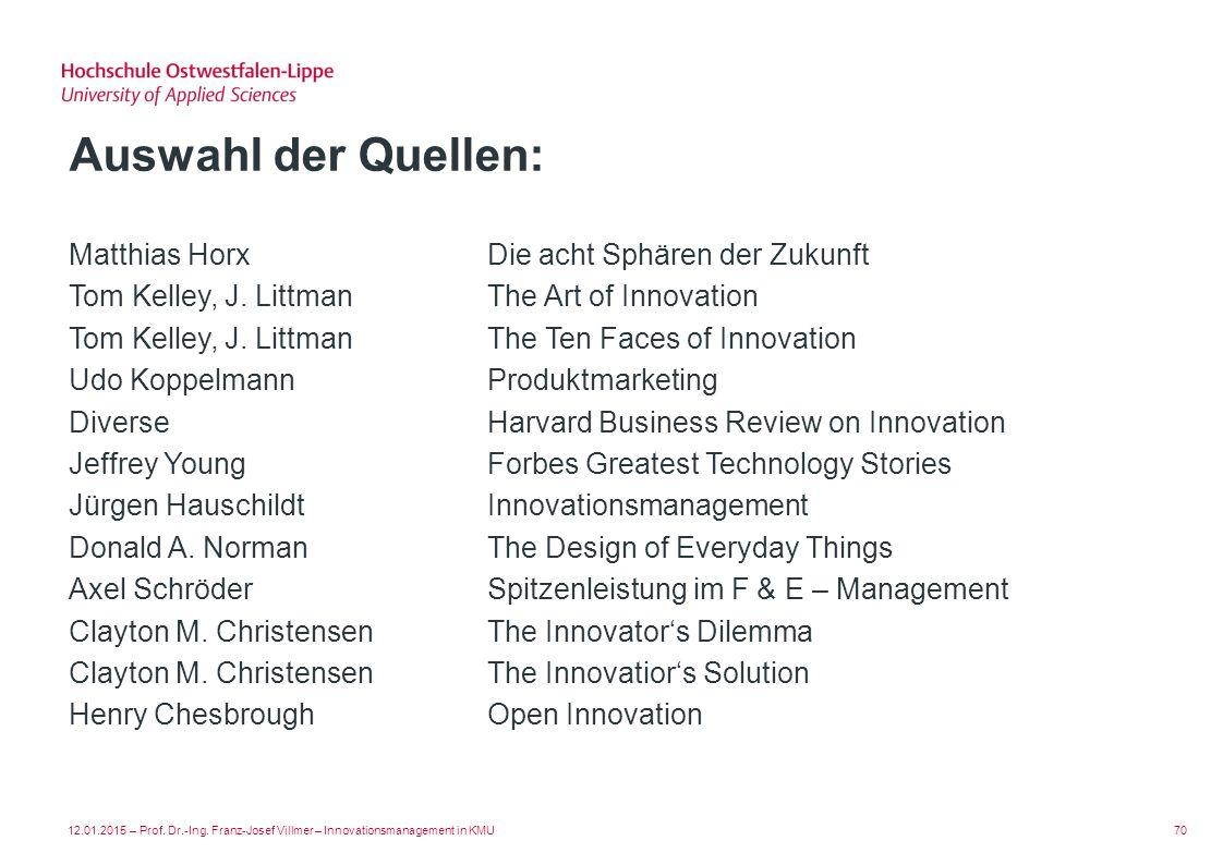 Auswahl der Quellen: Matthias Horx Die acht Sphären der Zukunft