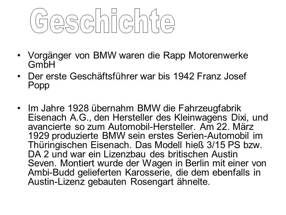 Geschichte Vorgänger von BMW waren die Rapp Motorenwerke GmbH