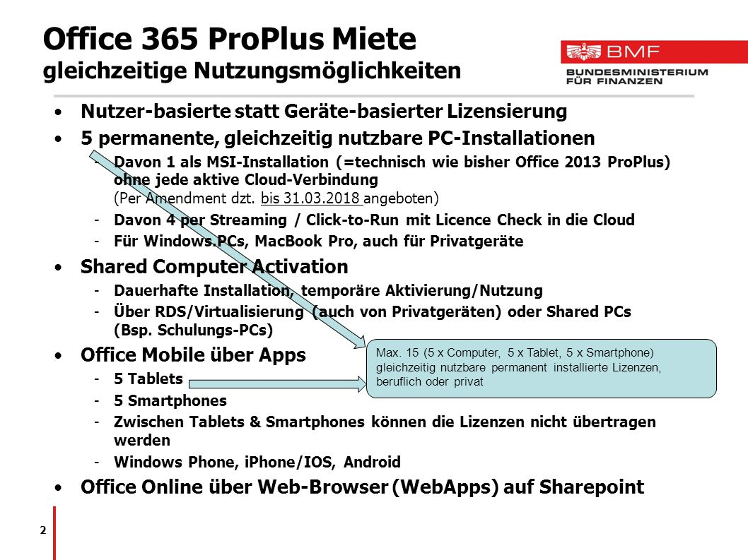 Office 365 ProPlus Miete gleichzeitige Nutzungsmöglichkeiten