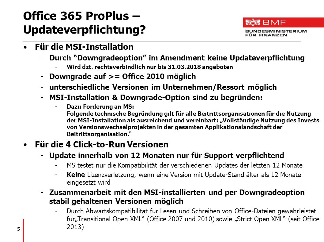 Office 365 ProPlus – Updateverpflichtung