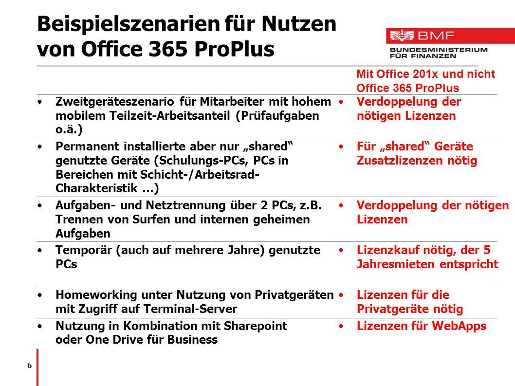 Beispielszenarien für Nutzen von Office 365 ProPlus