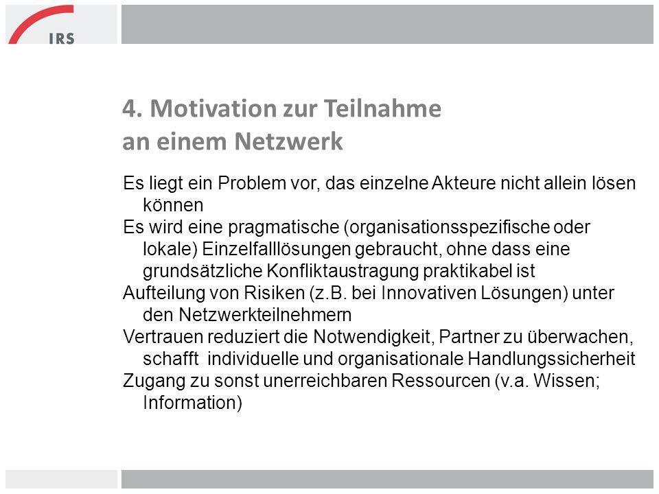 4. Motivation zur Teilnahme an einem Netzwerk