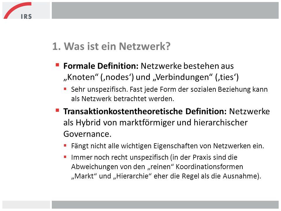 """1. Was ist ein Netzwerk Formale Definition: Netzwerke bestehen aus """"Knoten ('nodes') und """"Verbindungen ('ties')"""