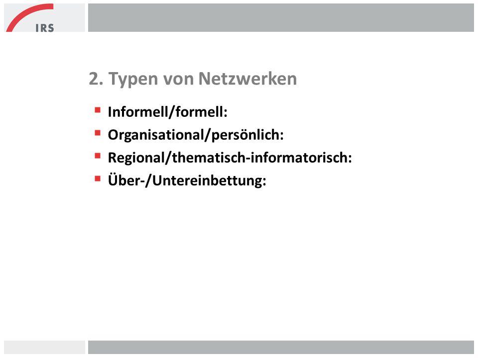 2. Typen von Netzwerken Informell/formell: Organisational/persönlich: