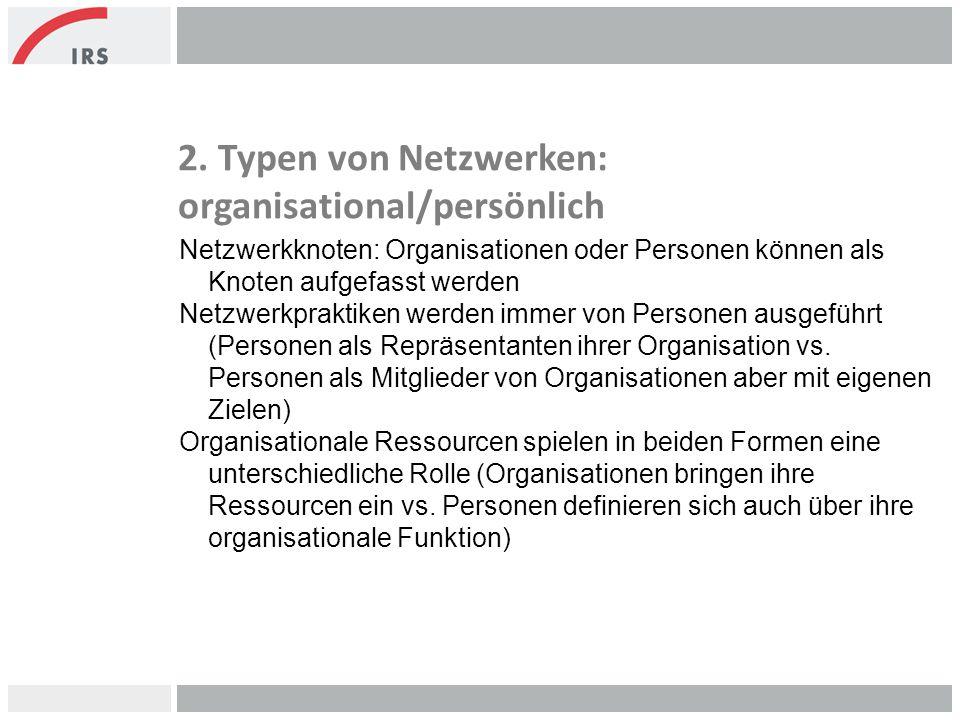 2. Typen von Netzwerken: organisational/persönlich