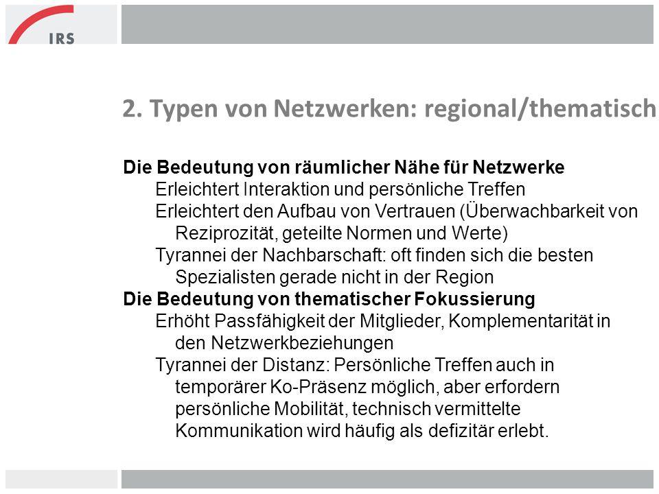 2. Typen von Netzwerken: regional/thematisch