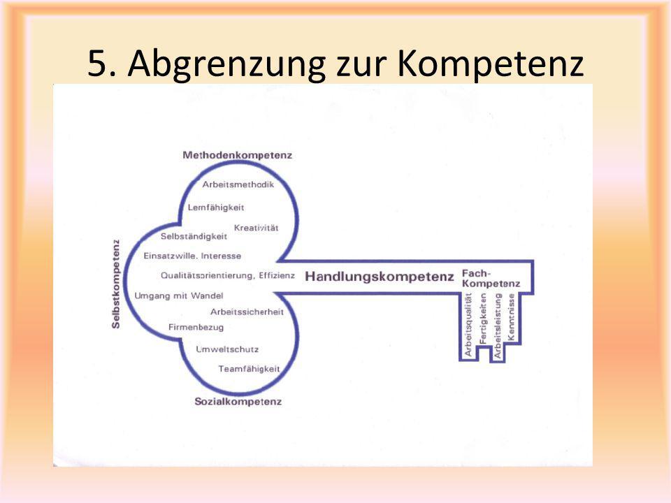 5. Abgrenzung zur Kompetenz