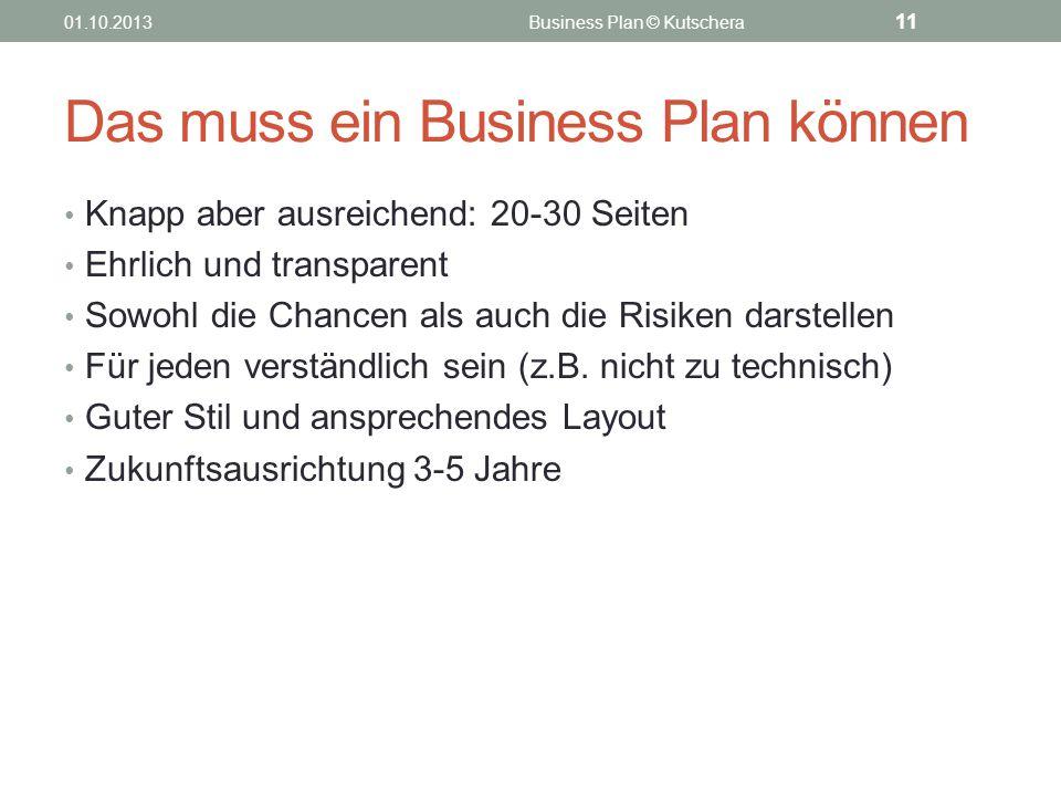 Das muss ein Business Plan können