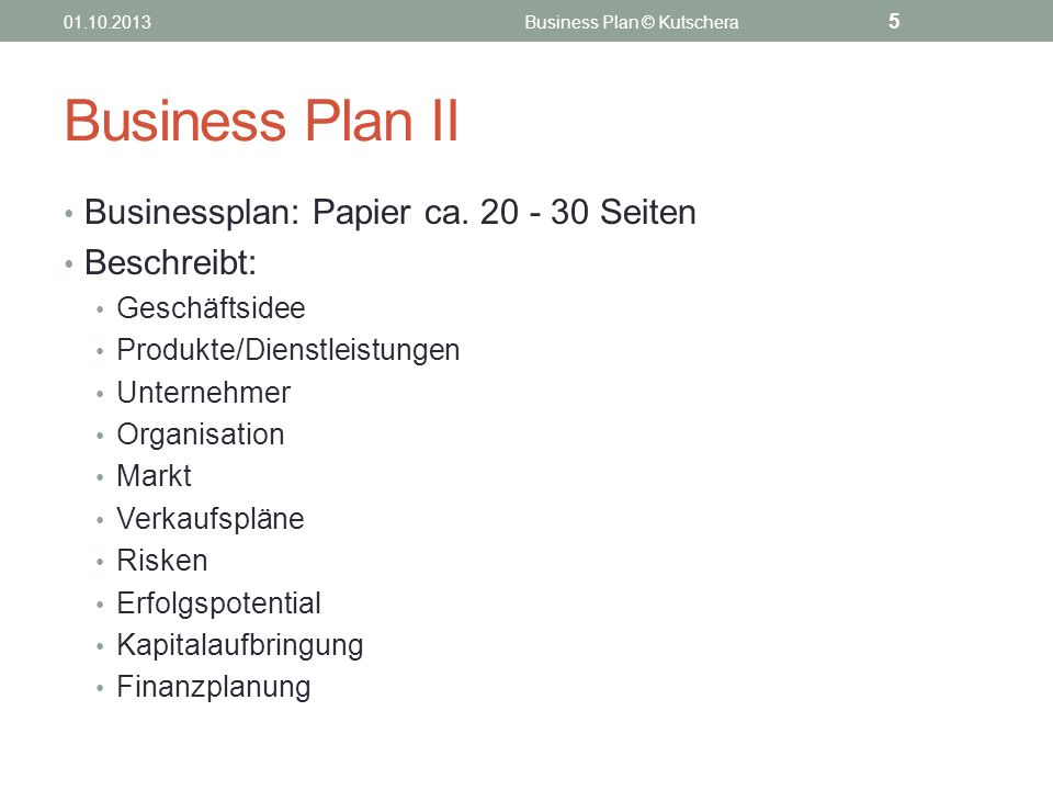 Business Plan © Kutschera