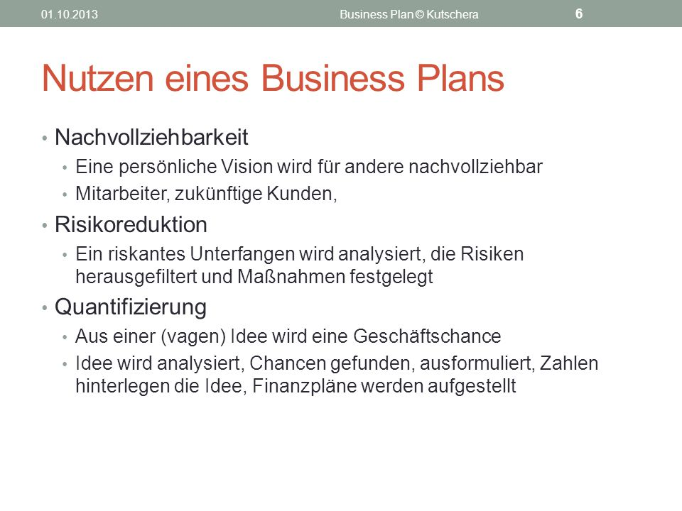 Nutzen eines Business Plans