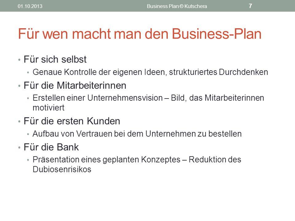 Für wen macht man den Business-Plan