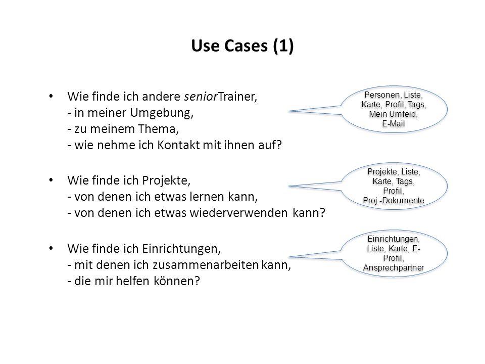 Use Cases (1) Wie finde ich andere seniorTrainer, - in meiner Umgebung, - zu meinem Thema, - wie nehme ich Kontakt mit ihnen auf