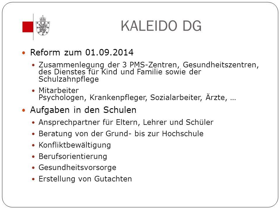 KALEIDO DG Reform zum 01.09.2014 Aufgaben in den Schulen