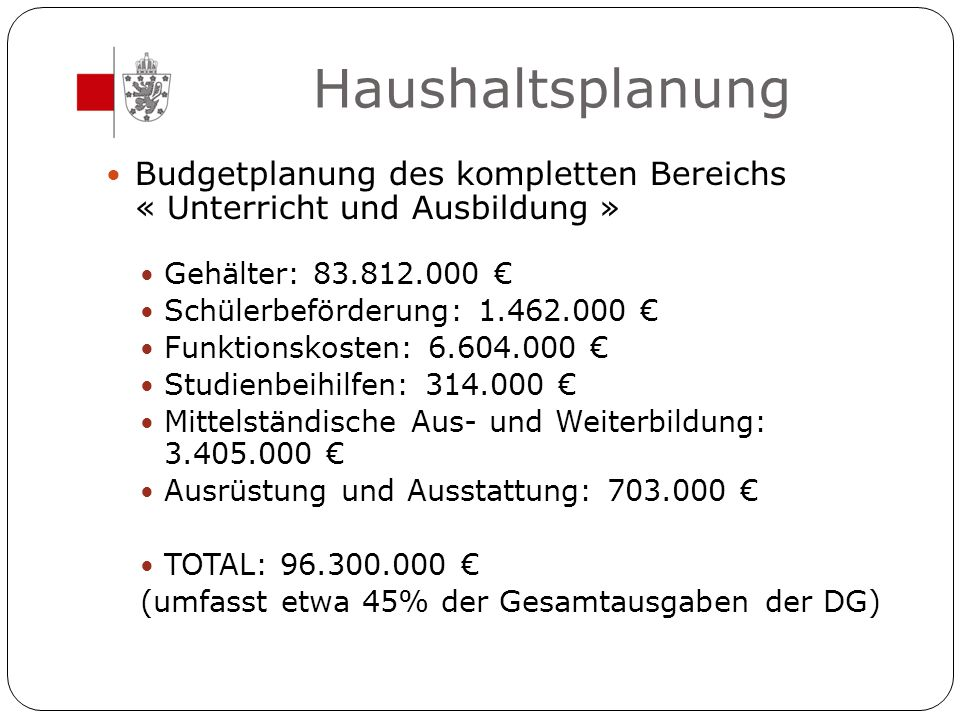 Haushaltsplanung Budgetplanung des kompletten Bereichs « Unterricht und Ausbildung » Gehälter: 83.812.000 €
