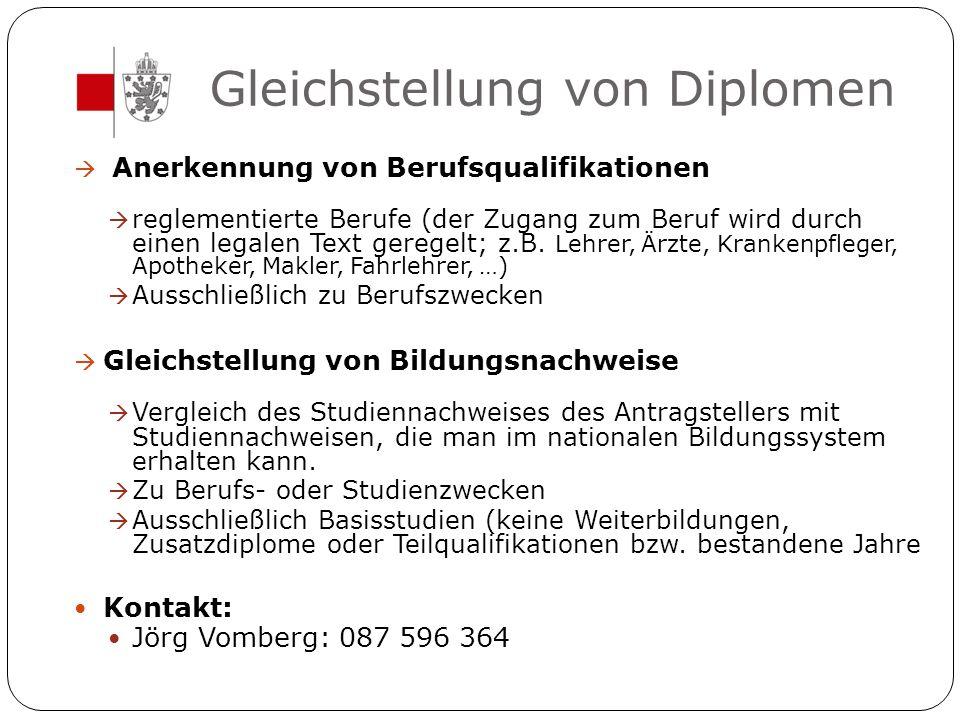 Gleichstellung von Diplomen