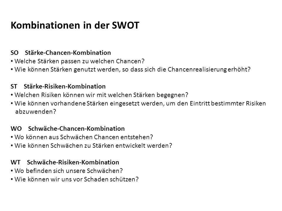 Kombinationen in der SWOT