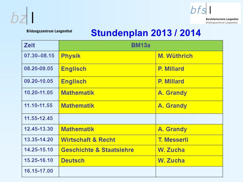 Stundenplan 2013 / 2014 Zeit BM13a Physik M. Wüthrich Englisch