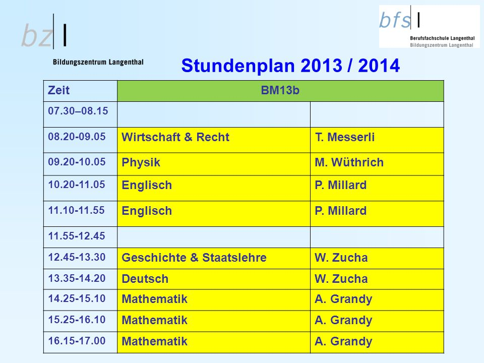 Stundenplan 2013 / 2014 Zeit BM13b Wirtschaft & Recht T. Messerli