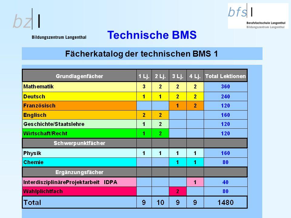 Fächerkatalog der technischen BMS 1