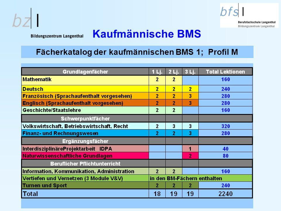 Fächerkatalog der kaufmännischen BMS 1; Profil M